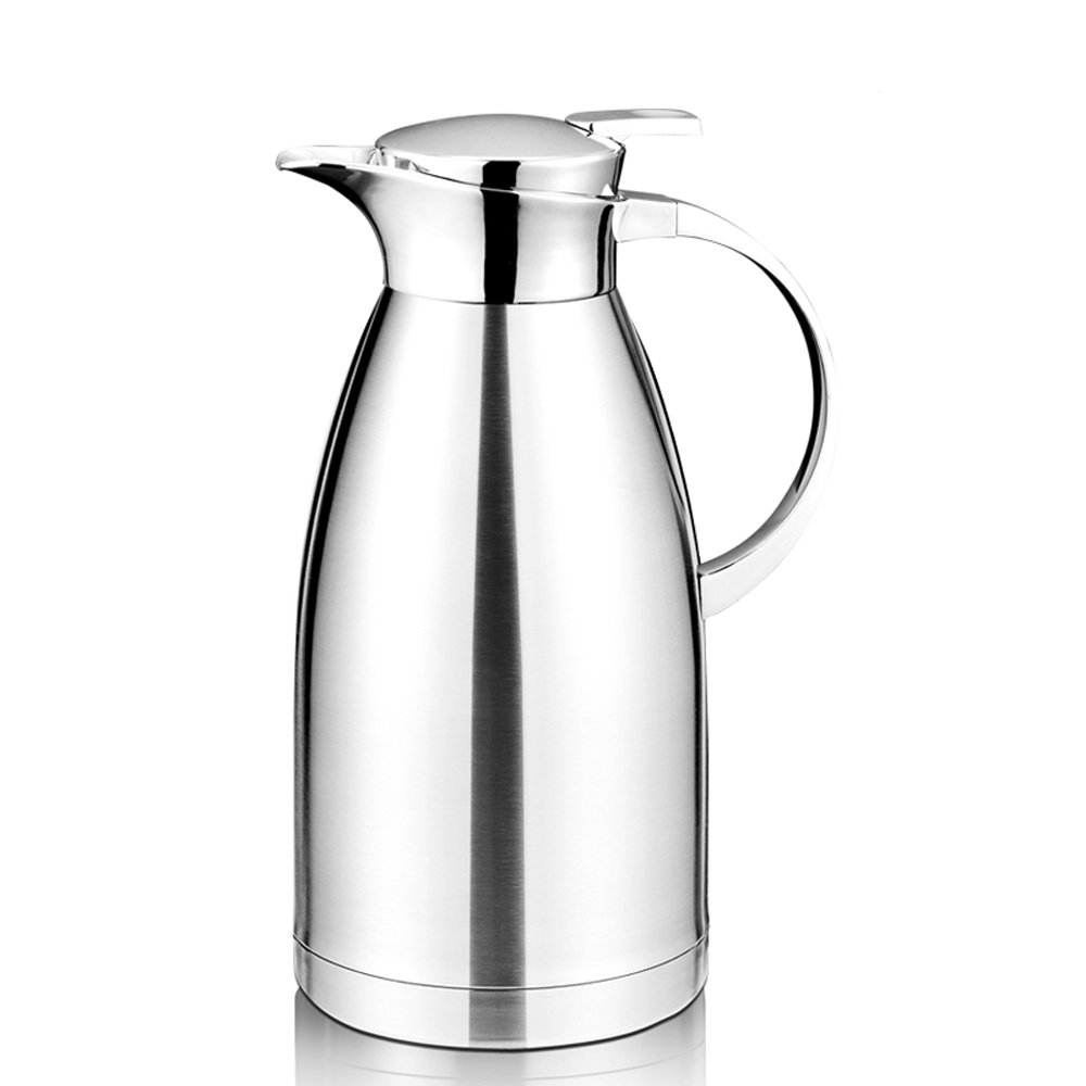 64 Oz Coffee Thermal Carafe with Lid - 18/10 Stainless Steel Coffee Thermos Carafe by Hiware - Double Walled Vacuum Carafe Insulated