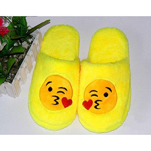 Bisous LUOEM Doux Homme Jaune Peluche Antidérapant Chauds Jaune Femme Coton Chaussons Coeur Chaussons Pantoufle Amour Hiver Smiley wBwRq