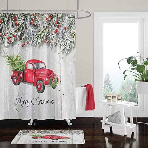 Alonze Shower Curtain,Christmas Red Truck with Tree Shower Curtain Bath Mat, Towels,Pine Branch, Faux Wood, Rustic, Primitive ()