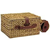 Household Essentials ML-6660 Banana Leaf Picnic Basket with Wine Caddy, Service for 4