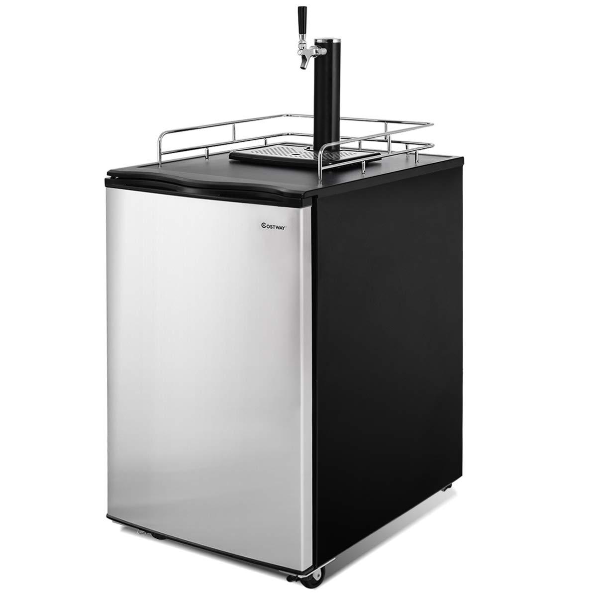 COSTWAY 6.1 CU. FT Full Size Kegerator Single-Tap Keg Beer Cooler Refrigerator Draft Beer Dispenser R600a Compressor Cooling CO2 Regulator Casters