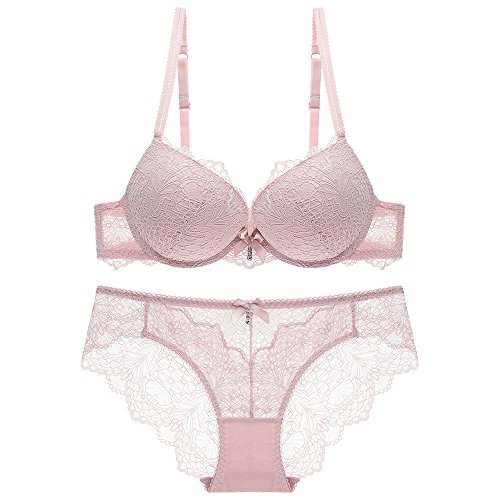 851e7f455 Womens Everyday Push up Lace Bra Lingerie with Underwire Top and Panty Set