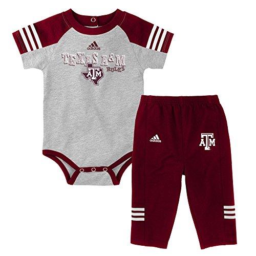 Outerstuff NCAA Texas A&M Aggies Children Boys Power One Onesie & Pant Set, 18 Months, Heather Grey