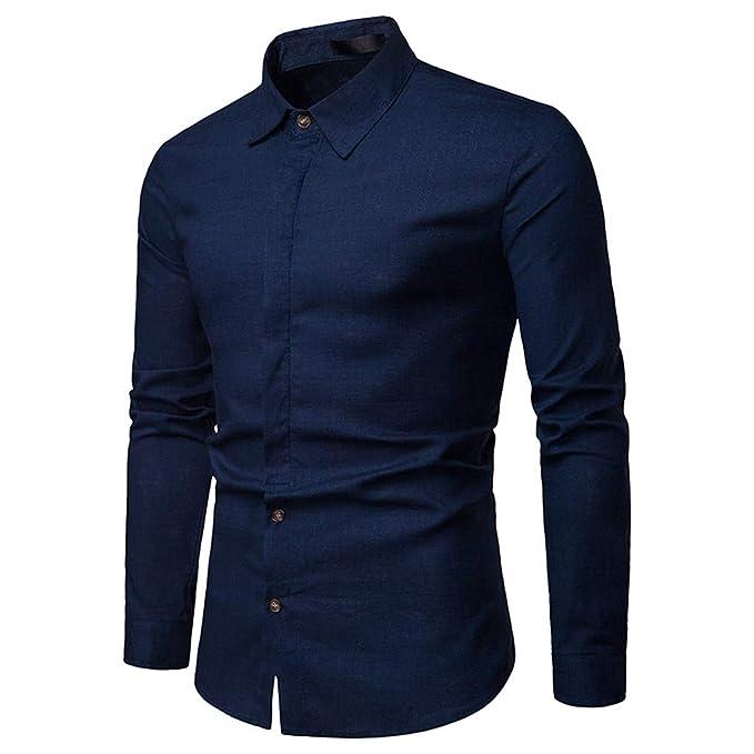 ♚Camisas Hombre Manga Larga, Heligen Camisetas Blusas Tops Hombre, Sujetador Camisa de Manga Larga para Hombre: Amazon.es: Ropa y accesorios