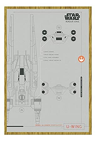 Amazon.com: Star Wars Rogue One U-Wing Plans Poster Oak Framed ...