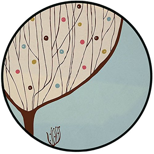 Select Line Chair Shower (Printing Round Rug,Modern Art Home Decor,Aqua Hand Drawn Decorative Funk Art Tree Form with Dots Doodle Lines Art Mat Non-Slip Soft Entrance Mat Door Floor Rug Area Rug For Chair Living Room,Multi)