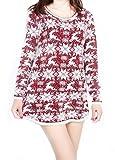 Wicky LS Women's Long Sleeve Knitted Loose Fluffy Jumper Sweater(Free Size, Wine)