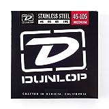 Dunlop DBS45105 Stainless Steel Bass Strings, Medium, .045?.105, 4 Strings/Set