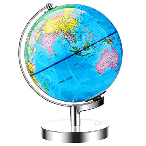JARBO 8 inches Illuminated World Globe for Kids with Stand, Built-in LED Light Illuminates for Night View, Educational Gift Detailed World Map Earth Globe, Powered by Battery(Included)