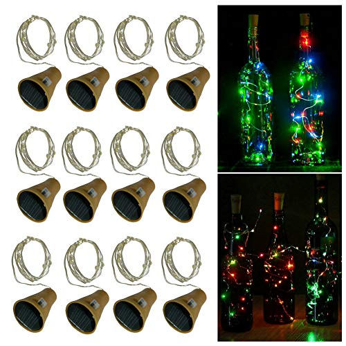 Fjiangyi 12pcs Cork Bottle Lights Solar Powered 39 inch 10 LED String Wine Cork Fairy Lights for Christmas, Wedding, Dance, Halloween, Party, Festival - Green Plant,Patio Pathway Decor (Colorful)