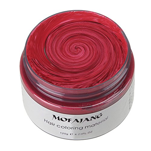 KooJoee Unisex Red Grey Seven Color MoFaJang Hair Dye,Professional Disposable Temporary Modeling Natural Short Hair Styling Wax/Dye for Men,Party, Cosplay, Nightclub, Masquerad, Halloween (Red) for $<!--$7.99-->