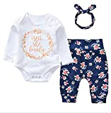 Newborn Baby Girls Long Sleeve Romper Floral Pants with Headband Isn't She Lovely 3PCS sets (6-12M, White)