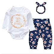 Younger Tree 3Pcs Cotton Newborn Baby Girls Tops + Flower Pants + Headband Clothes Outfits Set (White#2, 6-12 Months)