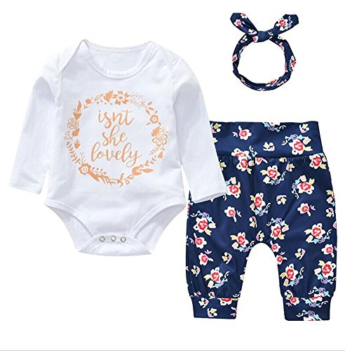 Newborn Baby Girls Long Sleeve Romper Floral Pants with Headband Isn't She Lovely 3PCS sets (0-6M, White)