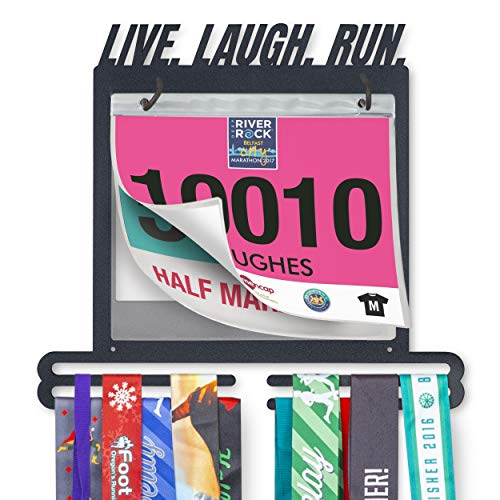 Live. Laugh. Run. Race Bib and Medal Display Perfect Medal Holder and Hanger for Race Bibs, Photos, and Memorabilia
