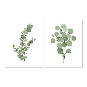 Eucalyptus Leaf Art - Set of 2 Botanical Plant Prints for Bathroom Kitchen Bedroom (Many Sizes)