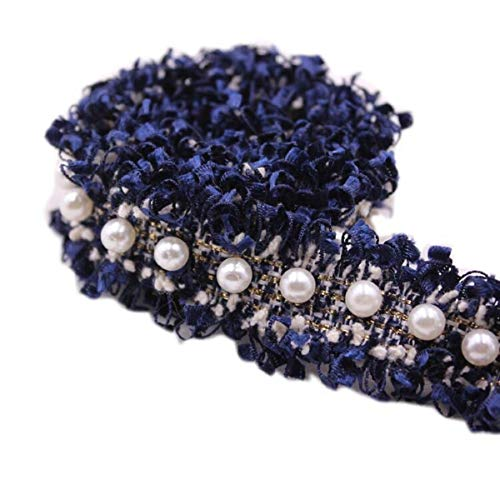 Yalulu 5 Yards Nylon Pearl Lace Ribbon Edge Trimmings Fabric Embroidered Applique Sewing Craft Wedding Bridal Dress Embellishment Clothes Hat Decoration (Navy Blue)