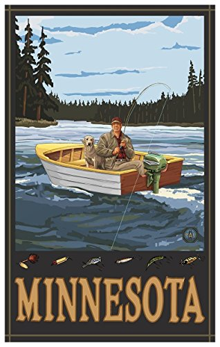 Minnesota Fisherman in Boat Forest Travel Art Print Poster by Paul A. Lanquist (12