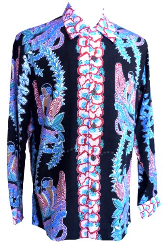 Kamehameha Mens Lei Lady Long Sleeve Shirt Black S by Paradise Found