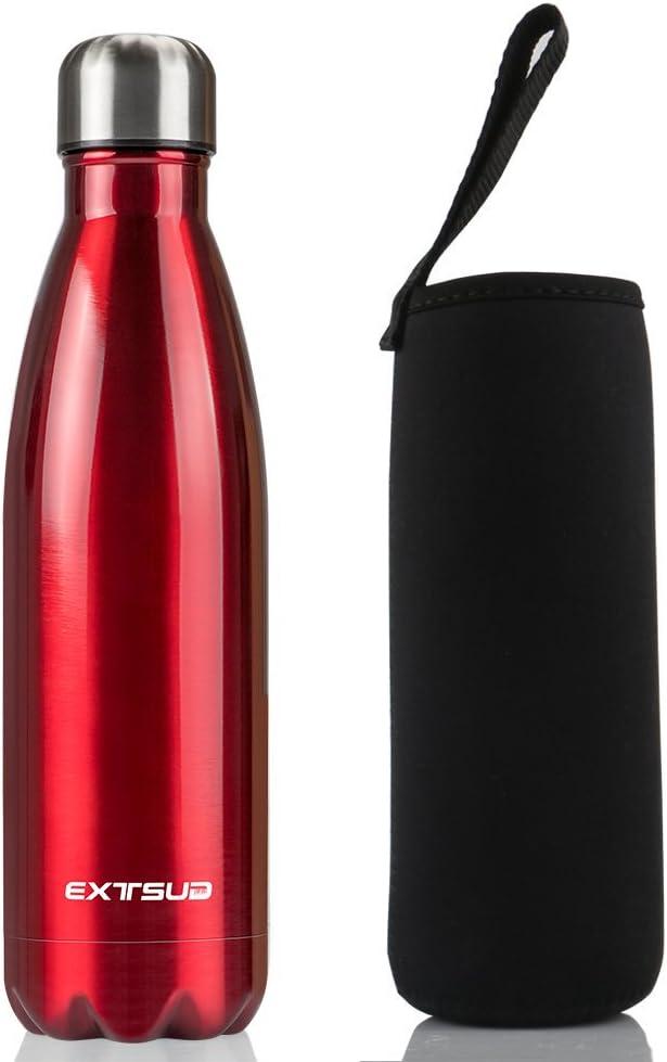 EXTSUD 500ml Botella Exterior de Agua al Vacío Termo de Acero Inoxidable Botella, Rojo