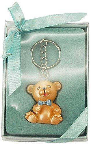 Fiesta de bienvenida al bebé del favor de poliresina bebé oso de peluche llavero, azul