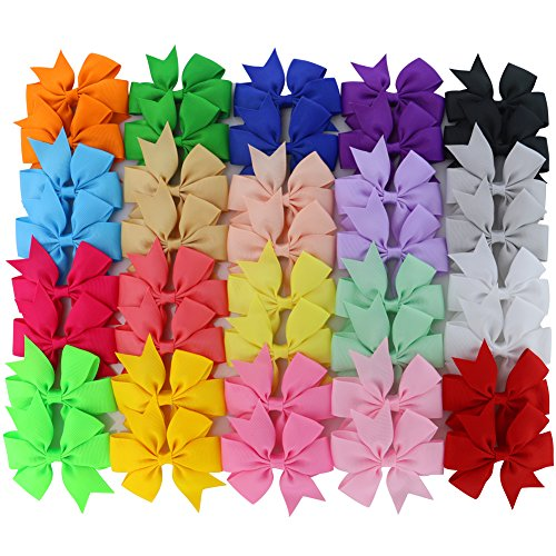 Chiffon 3in Boutique Grosgrain Ribbon Pinwheel Hair Bows Clips for Baby Girls Teens Toddlers Newborn Set of 40 -