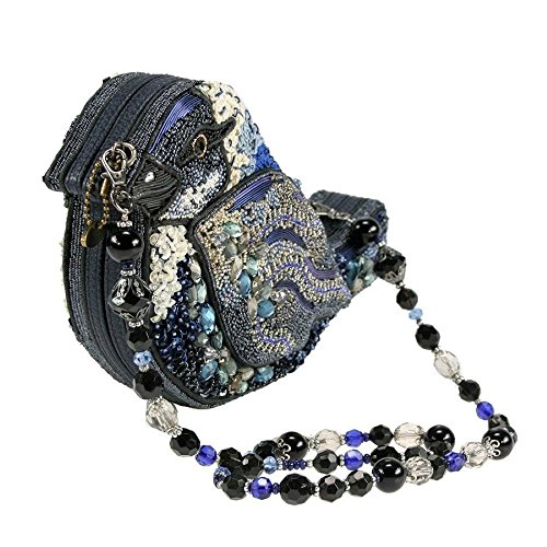 Song Shoulder Novelty Handbag Jeweled White Beaded Blue Bag Bird Black Frances Mary YnvB6U56