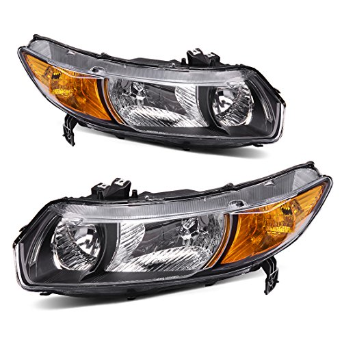 2006 2007 Honda Civic Coupe - Headlight Assembly OE Style Replacement Direct for 2006-2011 Honda Civic Coupe Headlamps Black Housing with Amber Park Lens (Driver and Passenger Side)