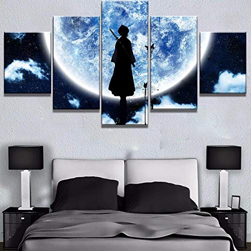 (Yyjyxd Modular Picture HD Prints Canvas Painting 5 Pieces Bleach Anime Home Decoration Cartoon Wall Art for Living Room Artwork Poster-8 x 14/18/22inch,with)