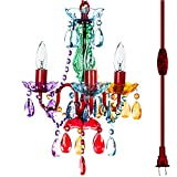 The Original Gypsy Color 3 Light Mini Plug-in Gypsy Chandelier for H17 W12, Red Metal Frame with Multi Color Acrylic Crystals