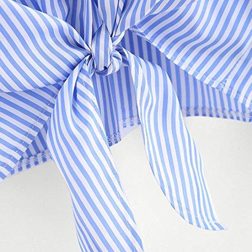 Autunno s Lunghe Camicette Abcone shirt Casual Blu Felpa Orlo Forma Elegante Maniche Annodato Tops Ricamato T Gatto Pullover xl Di Camicie Donna a6x6gp