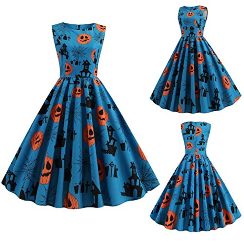charmsamx Halloween Dress for Women Sleeveless Retro Swing Dress Pumpkin Skater A-line Dress Vintage Pumpkin Cocktail Rockabilly Party Dress Halloween Costumes Blue, S (Size Star Plus Trek Costume)