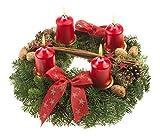Echter Adventskranz Weihnachtsglanz, 30 cm im Durchmesser, mit roten Kerzen