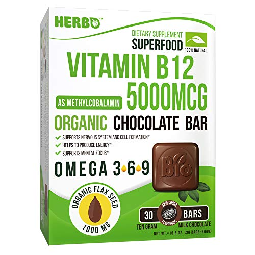 Vitamin B12, Organic - Methylcobalamin 5000 mcg - Organic Superfood - Support Energy and Mood - Premium Taste, Organic Chocolate Bar, Delicius, Organic Omega 3 - Non-GMO, Gluten Free