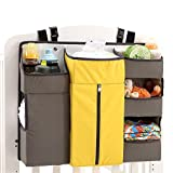 Baby Cot and Change Table Packages OOFYHOME Storage Bag Baby Nursery Organiser Cotton Hanging Storage Bag for Bedside Crib Cot Changing Table , c03c yellow