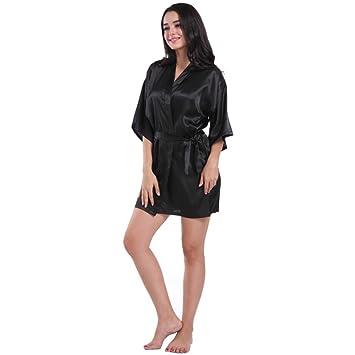 sinwo de la mujer Pure corto Kimono de seda albornoz pijamas Sexy ropa interior pijama para