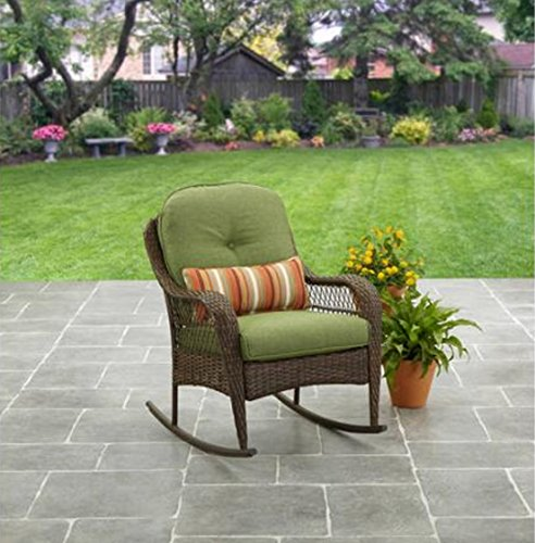 Patio Furniture Rocking Chair Brown Wicker Outdoor Porch All-Weather UV Treated (Garden Ridge Wicker Patio Furniture)