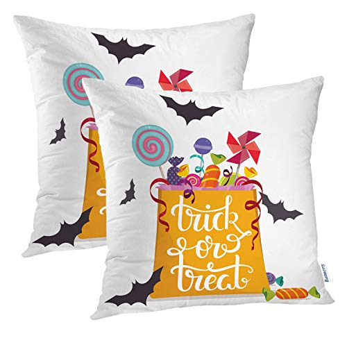 Batmerry Halloween Pillow Covers 18x18 inch Set of 2, Bag Full Halloween Abstract Kids Quote Treat Trick Art Throw Pillows Covers Sofa Cushion Cover Pillowcase Home Gift]()