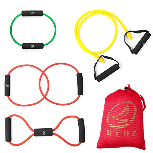 Resistance Band Resistance Tube Rehabilitation Band Sports Belt Pilates Fitness Equipment 4 Sets by Leesion