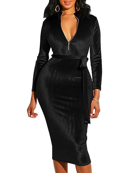5c233bb9e3f6 BEAGIMEG Women's Long Sleeve V Neck Velvet Party Club Pencil Dress with Belt  Black