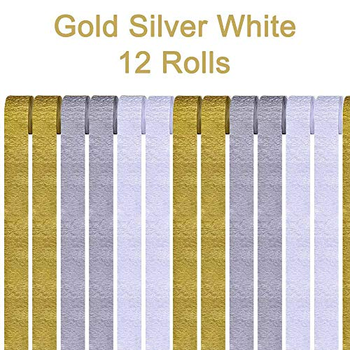 AimtoHome Gold Silver White Crepe Paper Streamers, 12 Rolls Gold Silver White Party Streamers Decorations for Birthday Party, Family Gathering, Wedding Decoration