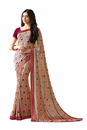 Indian Sarees for Women Wedding Designer Party Wear Traditional Chiku Saree by Indianfashion Store