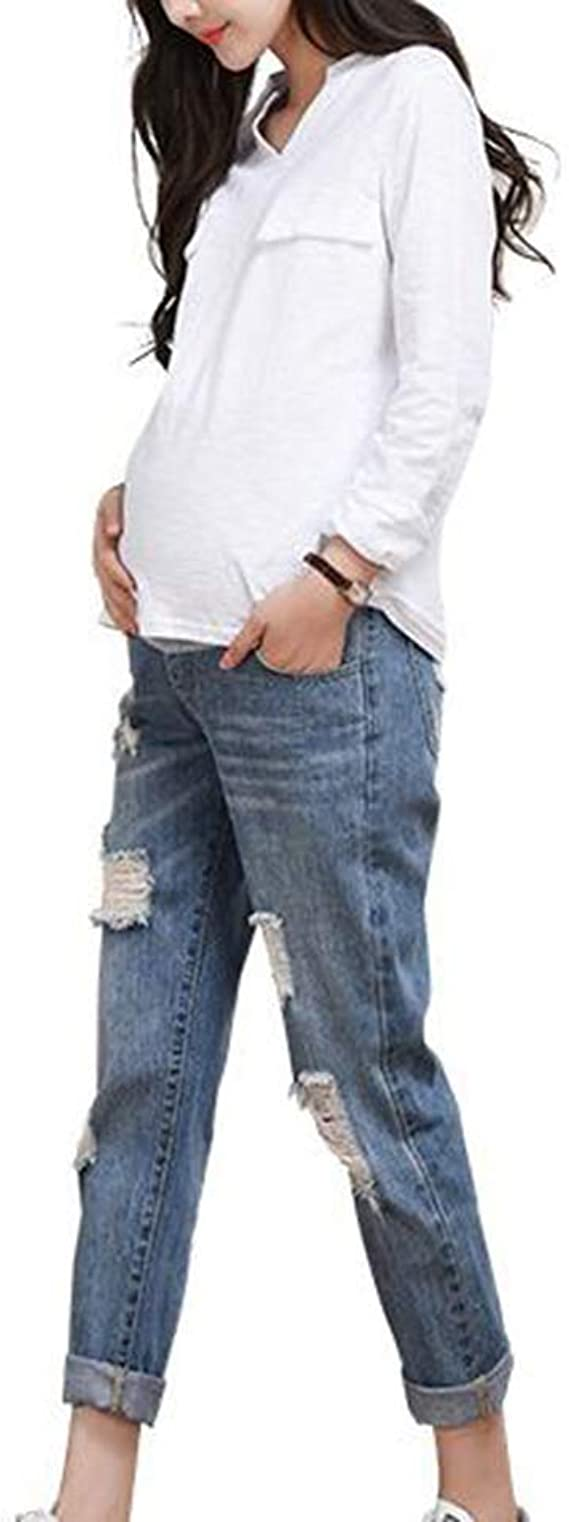 Oneforus maternit/à Cintura Regolabile da Esterno Infermieristica Addome Casual Sottile Buco Rotto Jeans Donna in Gravidanza Pantaloni Denim