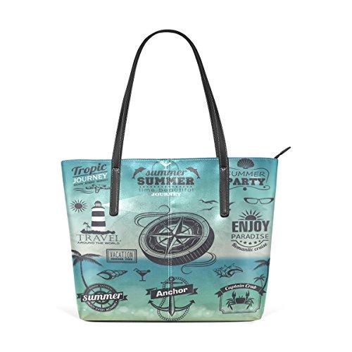 3fe8e5f70e45e COOSUN Set Vintage Sommer Typografie Design PU Leder Schultertasche  Handtasche und Handtaschen Tasche für Frauen