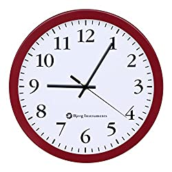 Bjerg Instruments Modern 12 Steel Enclosure Silent Wall Clock with Non Ticking Movement (Red)