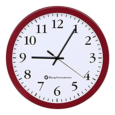 """Bjerg Instruments Modern 12"""" Steel Enclosure Silent Wall Clock with Non Ticking Movement (Red) - Large 12"""" Diameter Display. Easy to see from a distance and read the time. Silent, Non Ticking Second Hand that Sweeps. You don't have to listen to loud ticking in a silent room. Modern Design. Simple and elegant and looks great on the wall of your home, classroom, patio, dining room, kitchen or office. - wall-clocks, living-room-decor, living-room - 51Y%2Bv1rqSdL. SS400  -"""