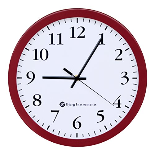 Bjerg Instruments Modern 12 Steel Enclosure Silent Wall Clock with Non Ticking Movement Red