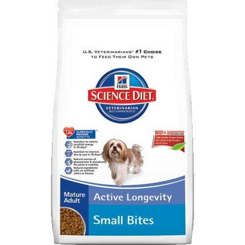 Hills Science Diet Mature Adult Active Longevity Small Bites Dry Dog Food Bag 33-Pound