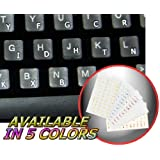 DVORAK SIMPLIFIED KEYBOARD STICKERS WITH WHITE LETTERING ON TRANSPARENT BACKGROUND