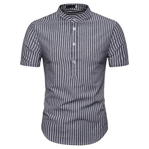 (Colmkley Fashion Short Sleeve T Shirt Men's Casual Tops Slim Blouse Button Shirt)